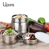 UPORS Stainless Steel Lunch Box for Kids Insulation Students Thermal Lunchbox Bento Box Meal Prep Food Container Thermos 1.6L