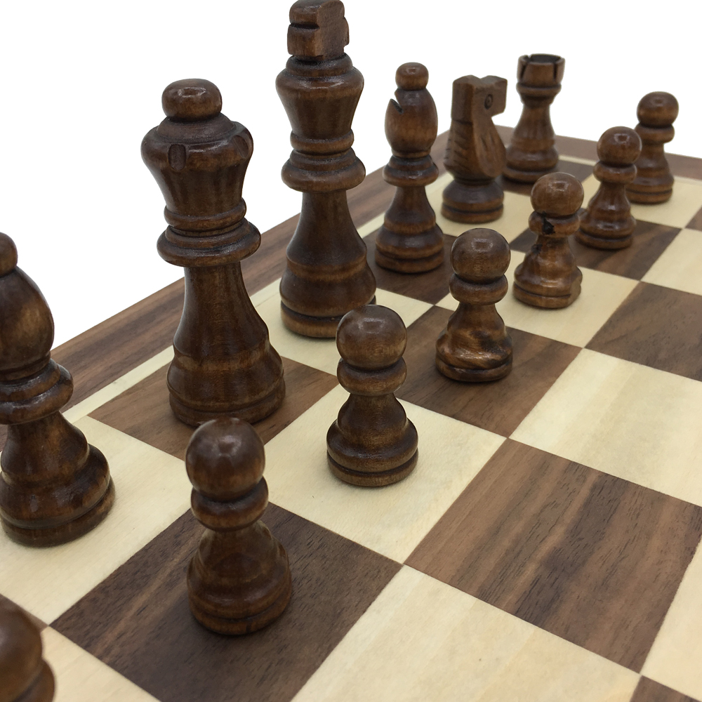 Echiquier pliant en bois avec jeu de voyage magnétique taille de plateau 39.4 cm x 39 cm grand tournoi d'échecs ensemble cadeau pour enfants