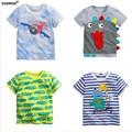 1-6A Menino T-shirt Do Bebê meninos camisas crianças T camisas de manga Curta Verão Crianças Tops Dos Desenhos Animados avião caminhões Roupas de Algodão da listra