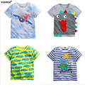 1-6Y Baby Boy T-shirt boys shirts children Tees Short sleeve shirts Summer Kids Tops Cartoon plane trucks Clothing Cotton stripe