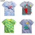 1-6Y Del Bebé Camiseta de los muchachos camisetas niños Camisetas de manga Corta camisetas Niños Del Verano Rematan camiones de avión de Dibujos Animados Ropa de Algodón de la raya
