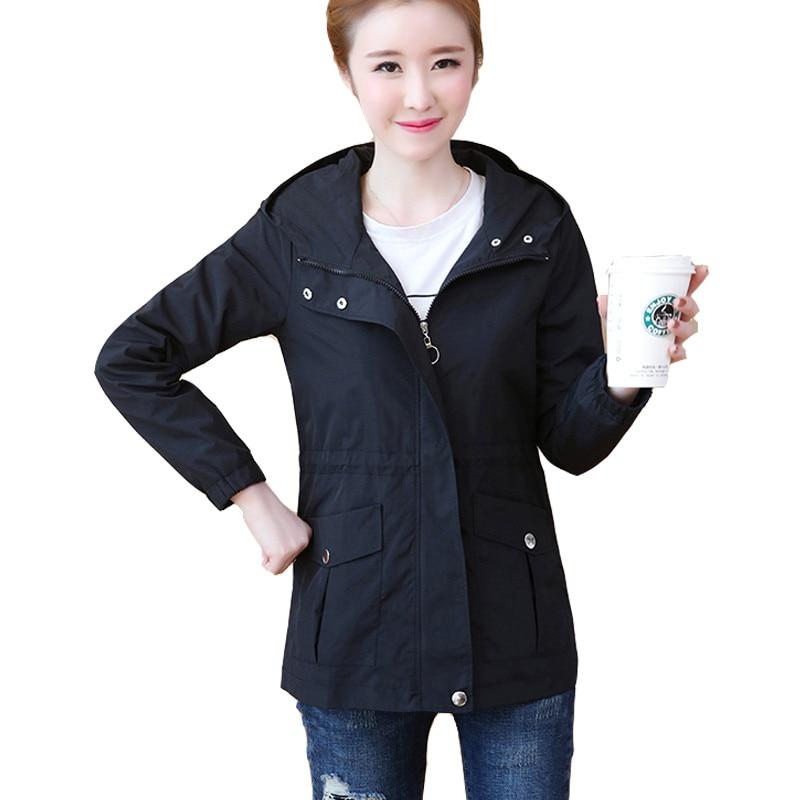 Новая женская весенняя куртка с капюшоном, Женская длинная куртка с длинным рукавом, черная ветровка, верхняя одежда, L34