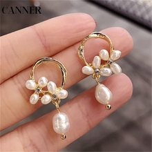 CANNER Simple Gold Color Freshwater Pearls Hoop Earrings for Women Small Twisted Circle Bride Wedding Gifts R4