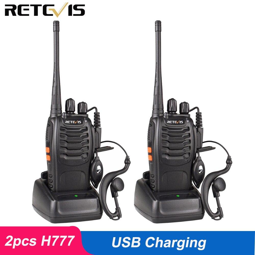 2 piezas Retevis H777 Walkie Talkie 3 W UHF estación de Radio 400-470 MHz de mano transceptor de Radio comunicador USB cargador