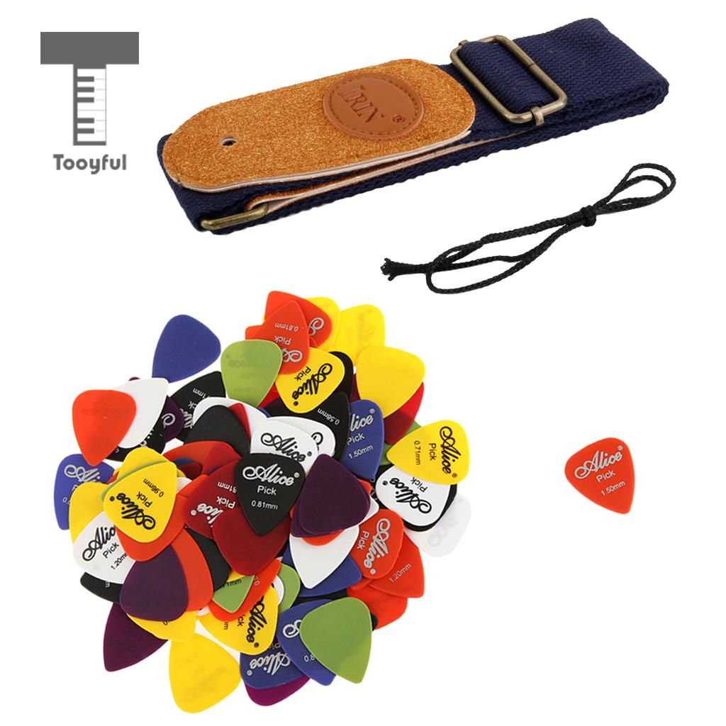 Tooyful Instrument Accs 100x Alice Nylon Standard Guitar Picks Plectrums with Strap