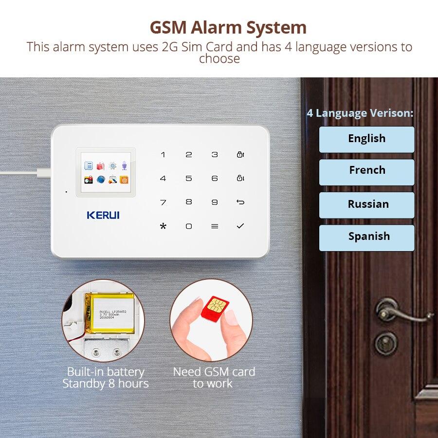 KERUI G18 sistema de alarma GSM inalámbrico vigilancia de seguridad en el hogar aplicación Android IOS Control remoto SMS Call Push Host sistemas de alarma