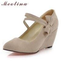 Meotina 신발 여성 봄 뾰족한 발가락 하이힐 메리 제인 여성 신발 웨지 활 웨지 Aprcot 블루 큰 크기 9 10
