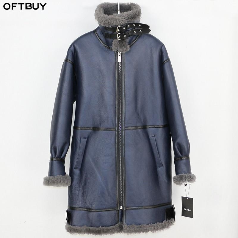 OFTBUY 2019 冬のジャケットの女性本物の毛皮のコート本革ナチュラルメリノ羊の毛皮ライナー両面毛皮ストリートパーカー  グループ上の レディース衣服 からの 本物の毛皮 の中 1