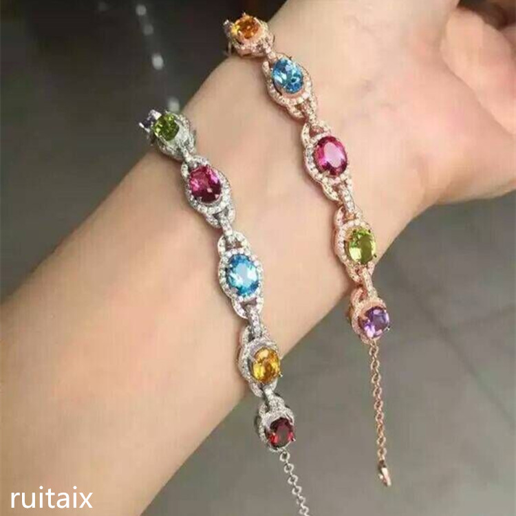 KJJEAXCMY fine jewelry S925 silver inlay natural color potopa stone multi - color bracelet crystal jewelry natural cl10 12 constellation brown leather multi colored stone crystal bracelet