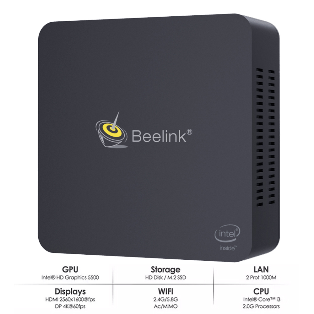 Beelink L55 I3-5005U 8GB RAM 512GB SSD 5G WIFI Bluetooth 4.0 1000M LAN HDD Mini PC Support Windows 10 USB3.0 TV Box
