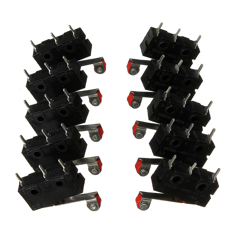 10Pcs Limit Switches, 3 Pin N/O N/C 5A 125V-250VAC Micro Switch Roller Lever Arm PCB Terminals KW12-3 Popular