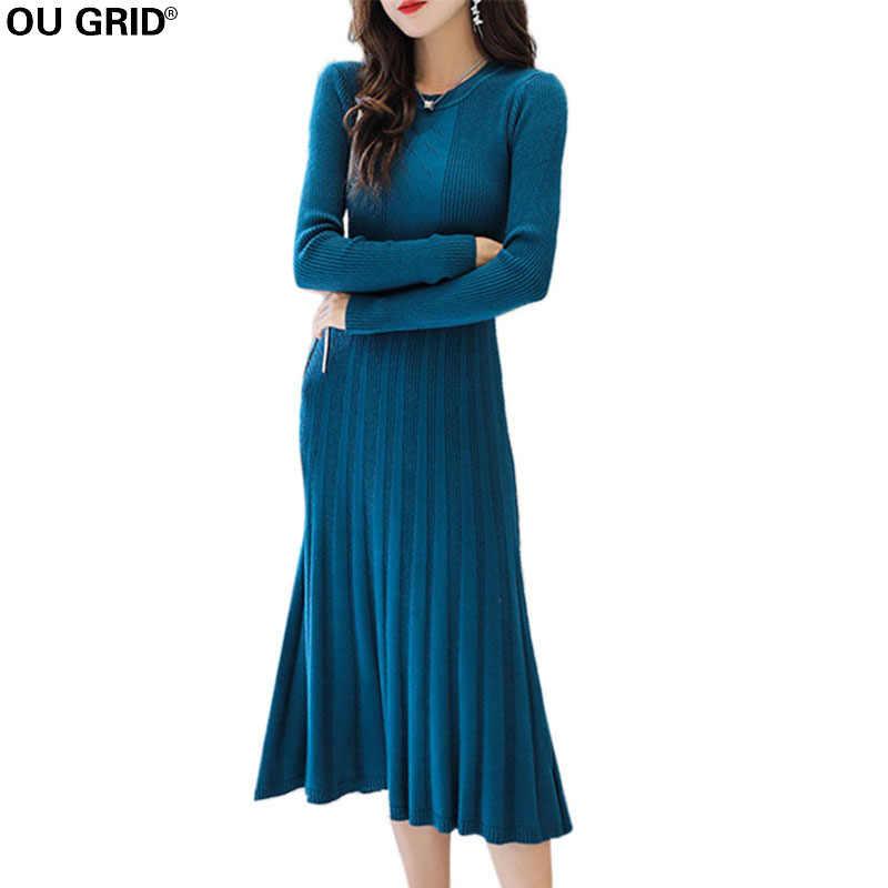 fcd0e6b29da Women Long Pleated Knitted Sweater Dress Spring Solid Bottom Elegant Slim  O-neck Long Sleeve