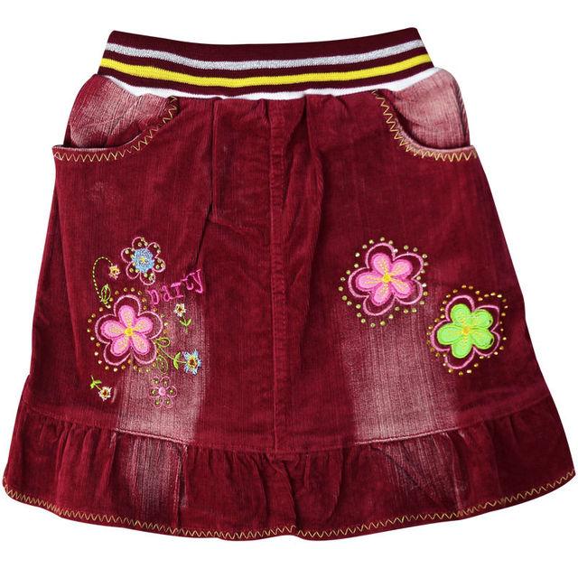 De la muchacha Roja/Verde bordado mini faldas Sobre La Rodilla con diamantes de imitación bolsillos cintura elástica de Pana para la muchacha niños ZQ-52931