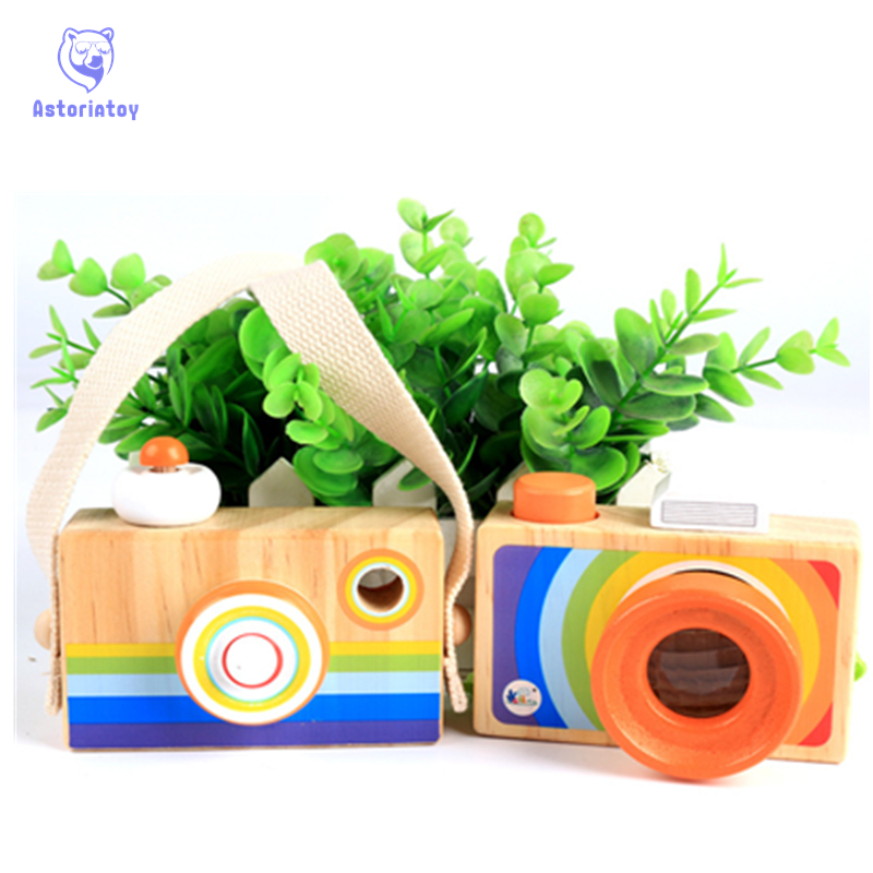 Toy Camera Cute Cartoon Baby kaleidoscope Wooden Toy Kid Christmas Birthday Room Decor Photography Wooden Camera Gift Playing