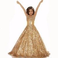 Free Shipping 2015 New Style Formal Gold Shinning Girls Pageant Dresses Long Flower Girl Dresses Custom