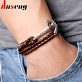 2017 New Arrival Fashion Silver Hook Leather Men's Bracelets Cowboy style Boys Knight Courage Bandage Anchor Bracelet.