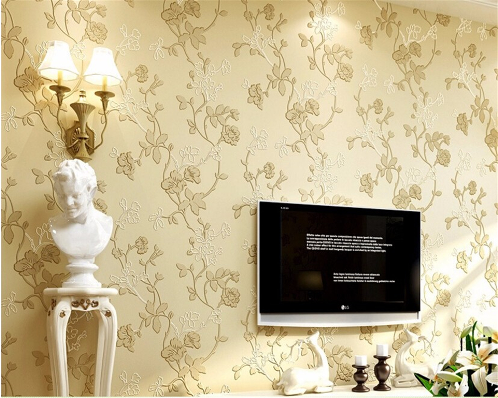 Beibehang European 3d wallpaper modern bedroom living room sofa ...