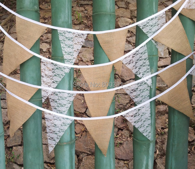 Lace Flag Wedding Party Supplies Vintage Banner Home Decoration Hessian Fabric Bunting Burlap Cord Jute