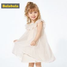 Balabala1-6 Years Baby Girls Sleeveless Flower Print Dresses Clothes Kids Summer Princess Dress Children Party Dress Outfit 2019 kids girl sleeveless dress summer girls prined flower dresses children clothes baby cotton princess dress outfits
