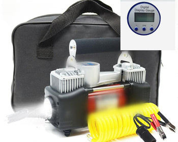 12V  Digital display screen Double Cylinder Car Air Compressor Car Tire Inflatable Pump +Lamp+sponge hanger+ copper motor