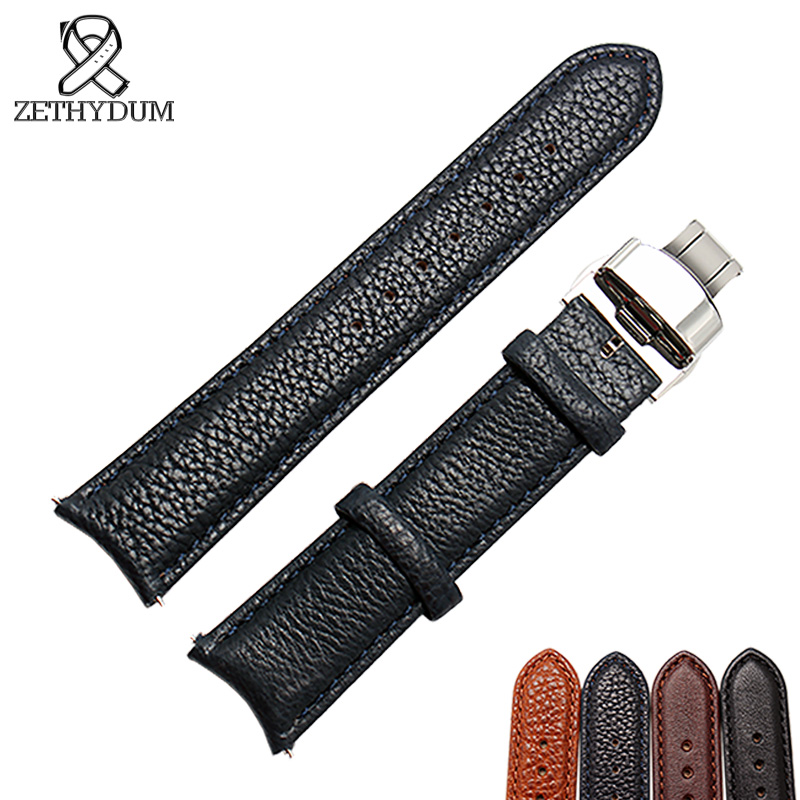 Genuine Leather Bracelet Arc Interface 20mm Black Brown Watch Strap For Mans Curved Interface Wristwatches Band Butterfly Buckle