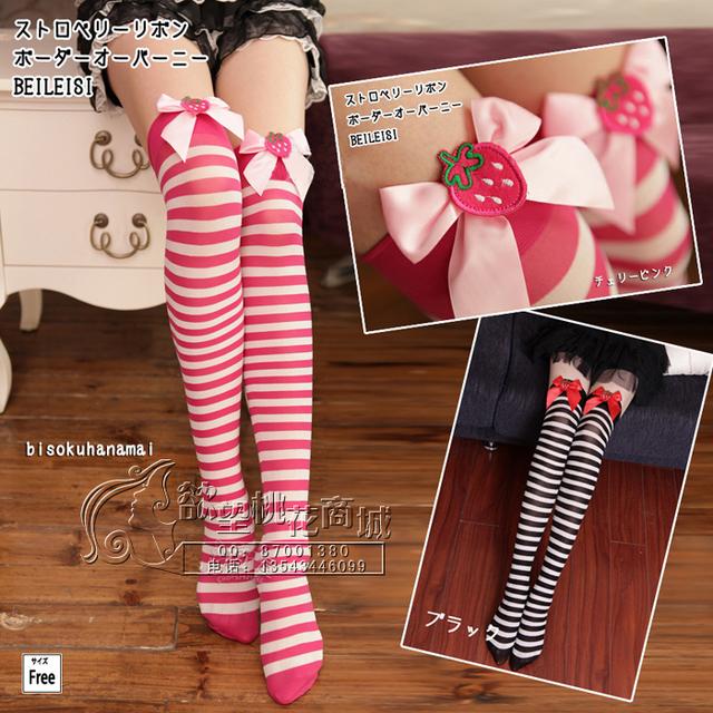 Envío gratis Wild sección barra jacquard medias muslo calcetines hasta la rodilla calcetines fresa arco calcetines del color del encanto 2082