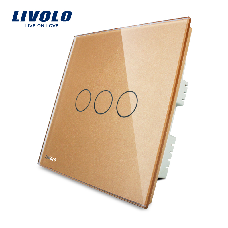 Free Shipping, Livolo Golden Crystal Glass Panel, Wall Switch,UK Standard VL-C303-63, Wall Light Touch Switch with LED Indicator 2017 free shipping smart wall switch crystal glass panel switch us 2 gang remote control touch switch wall light switch for led
