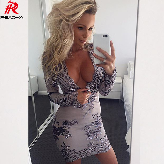 Reaqka Deep V neck Long sleeves sequin women dress shirt Short mesh bodycon dresses party Embroidery dress 2017 autumn vestidos