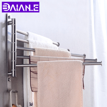 Towel Bar Holder Stainless Steel Bathroom Rack Hanging Wall Mounted Moveable Rail Hanger Hook Storage