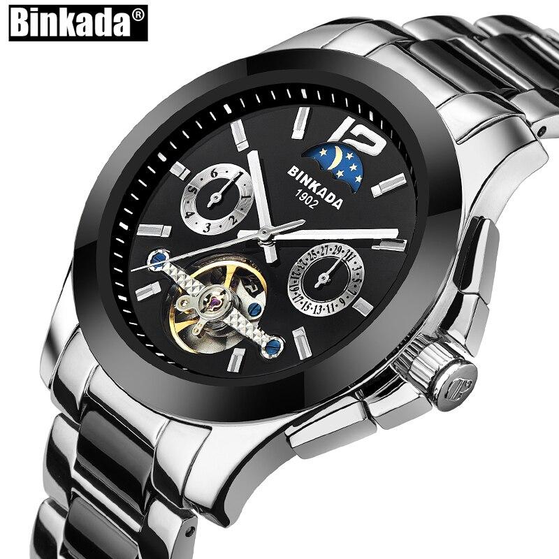 שעון ספורט יוקרתי החדש Mens אוטומטי שלד מכאני שעוני יד עסקים מקרית קרמיקה פלדה שעונים Relogio Masculino