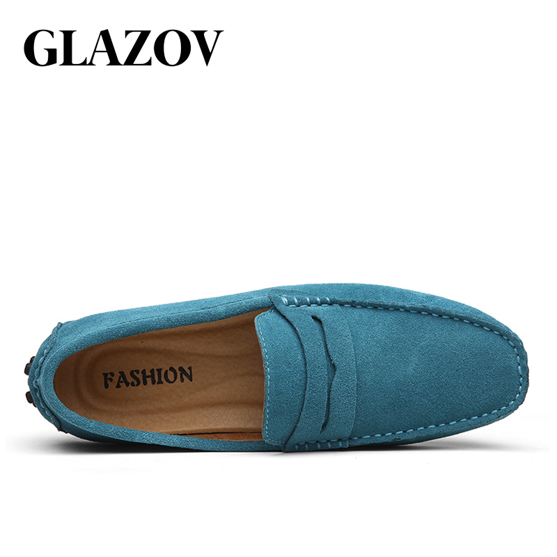 GLAZOV Fashion Men Loafers Men's Casual Shoes Suede Leather Moccasins Masculino Breathable Slip on Boat Shoe Chaussures Hommes 2