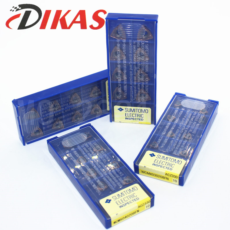 New 10pcs WCMX040208FN ACZ330 CNC Carbide Insert For U Drill CNC