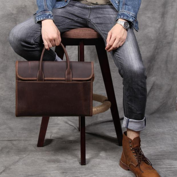 Man Genuine leather bag luxury briefcase handmade Real oiled leather handbag male shoulder Messenger computer bag luxury genuine leather shoulder