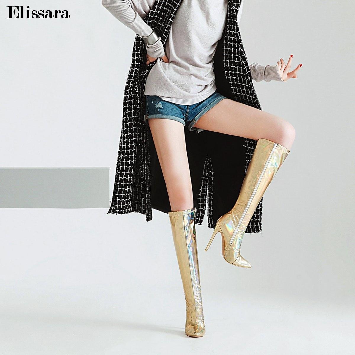 Elissara Progressif Longues 3347 Talons argent Couleur Taille Chaussures Des Or Hauts Haute Discothèque Changement Bottes Femmes Zip Hiver Genou Femme nOmN8w0v