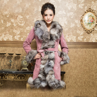 Vintage Trend Real Pig Leather Coat With Fox Fur Collar Wholesale Winter Woman Warmer fur Coat
