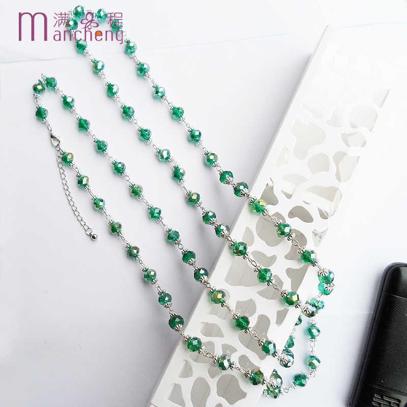 Идеальная Готическая Татуировка заявление малахитовое ожерелье с кристаллом зеленого цвета женщины 2019, натуральный хрусталь камень бусы ожерелье с длинными цепями