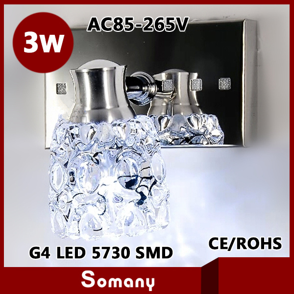 ФОТО 2014 New Rectangle Adjustable 1 Head Stainless Steel Modern Led Wall Lamp Sconce AC85-265V CE&ROHS Crystal 3W Led Mirror Lamp