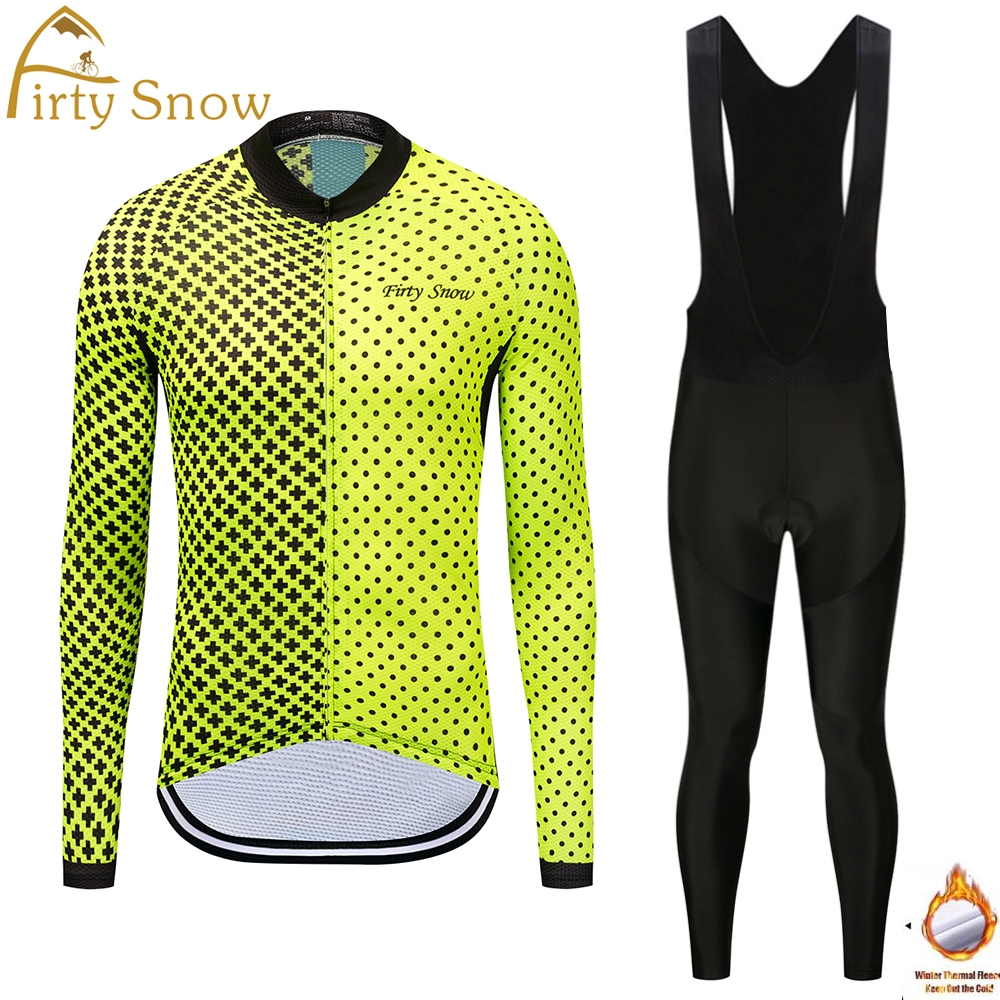 Firty Snow 2018 Winter thermal fleece clothes cycling jersey bib pants Shirt bicycle ropa maillot ciclismo silicone pad