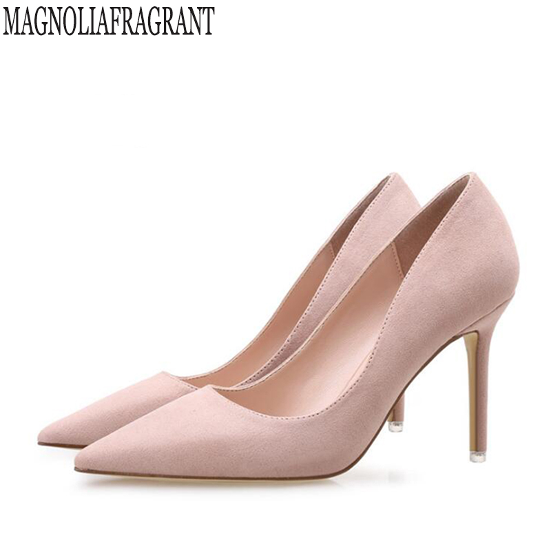 2018 new Women pumps Fashion pointed toe patent Suede stiletto high heels shoes Spring Wedding Shoes woman high heels k585 women stiletto square heel high heels wedding shoes pointed toe patent leather fashion pumps heels shoes size 33 40 p22810