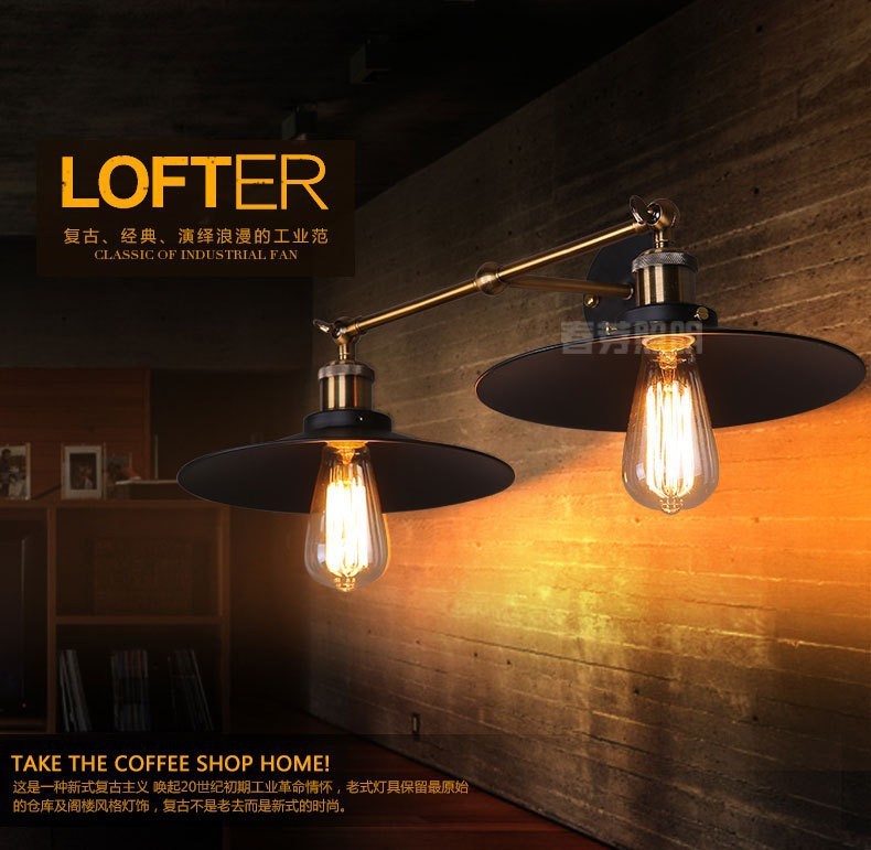 Creatieve retro dubbele wandlampen lamp loft muur lampen woonkamer ...