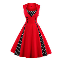 Women 5XL New Retro Vintage Dress Polka Dot Patchwork Sleeveless Spring Summer Red Dress Rockabilly Swing