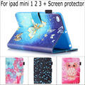 Fashion Cute Cartoon Retro Owl butterfly flower wallet card slot Stand leather case cover for iPad mini 1 2 3 with screen film