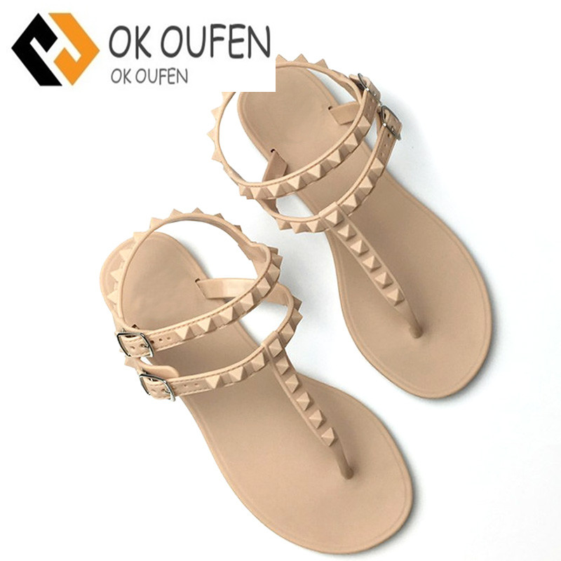 Lotus Jolly 2017 Flat Heel Rivet Sandals Ladies Summer Beach Shoes Women High Heels Gladiator Sandles Zapatos Mujer Sandalias