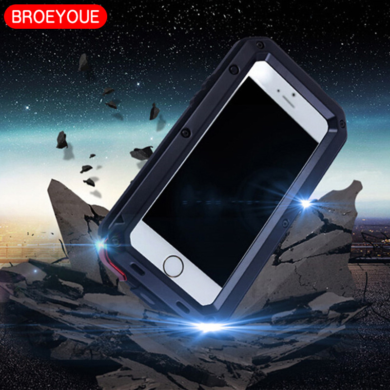 BROEYOUE For Samsung Galaxy S5 S6 S7 S8 Edge Plus Note 3 4 5 8 Case Aluminum Metal Cases Cover For iPhone 6 6S 7 8 Plus 5 5S X