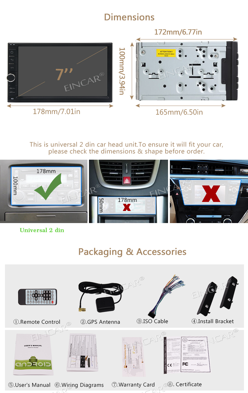 Android 7.1 Car Stereo capacitive HD touch screen Head Unit 3D GPS Navigation FM AM Radio Support Wifi Wrieless Rearview Camera