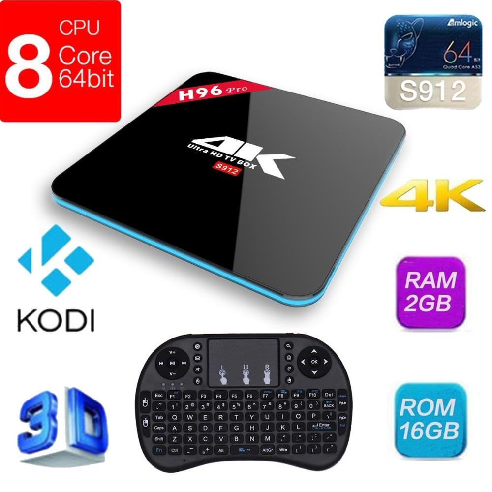 H96 Pro Amlogic S912 Octa Core Android 7.1 TV Box 2G/16G 2.4G/5GHz WIFI BT4.0 Gigabit LAN KODI 16.0 4K Media Player W/ Keyboard q amlogic s812 2g 16g kodi tv box