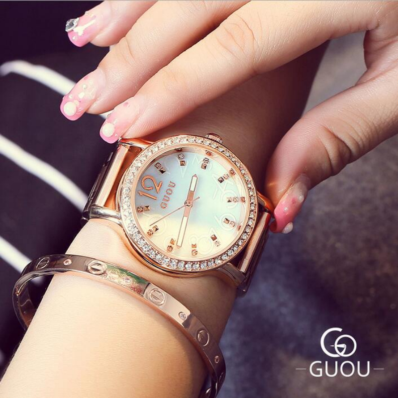 все цены на GUOU Luxury Diamond Women's Watches Rose Gold Ladies Watch Women Watches Luxury Rhinestone Watch Clock Saat Reloj Mujer Relogio