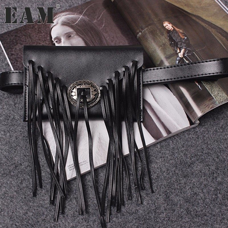 [EAM] 2018 new spring solid color black tassels PU leather s