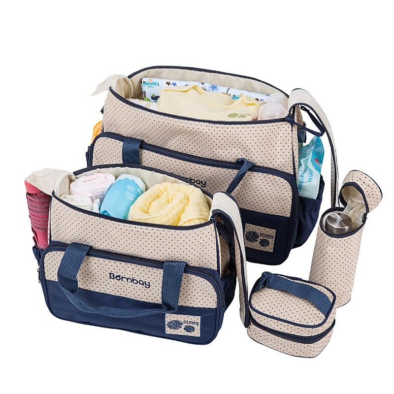 5 Pcs/ensemble Maman Sac À Couches avec Bébé À Langer Tapis Nappy Sacs Grande Capacité De Maternité Poussette Sac sac à langer maternite