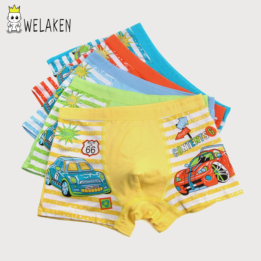 weLaken 5 Pcs/lot Cartoon Boys Underwear Soft Breathable Kids Boxer For 2-10Yrs Baby Panties Kawaii Panty Briefs Underpants